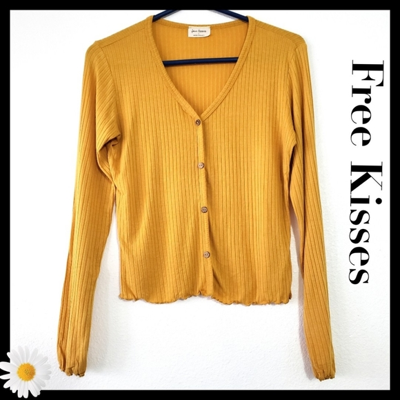 FreeKisses:Size:L/Mustard Yellow Longsleeve Top
